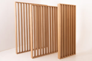 Tall wooden divider walls for shops