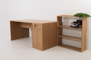Wooden work desk with drawers and shelf