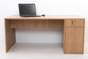 Wooden work desk with drawers