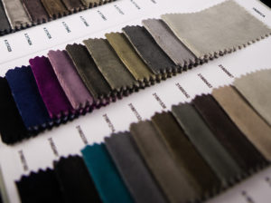 Fabric material sample sheet for display