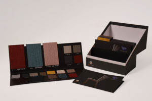 Collection box of material samples for display